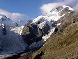 Il Piz Bernina e il ghiacciaio del Morteratsch