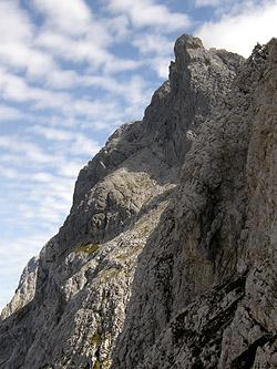 La parete di salita (nord) alla Creta Forata