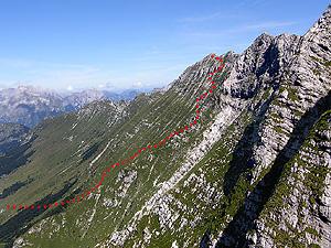 La via di salita degli alpini al monte Krncica