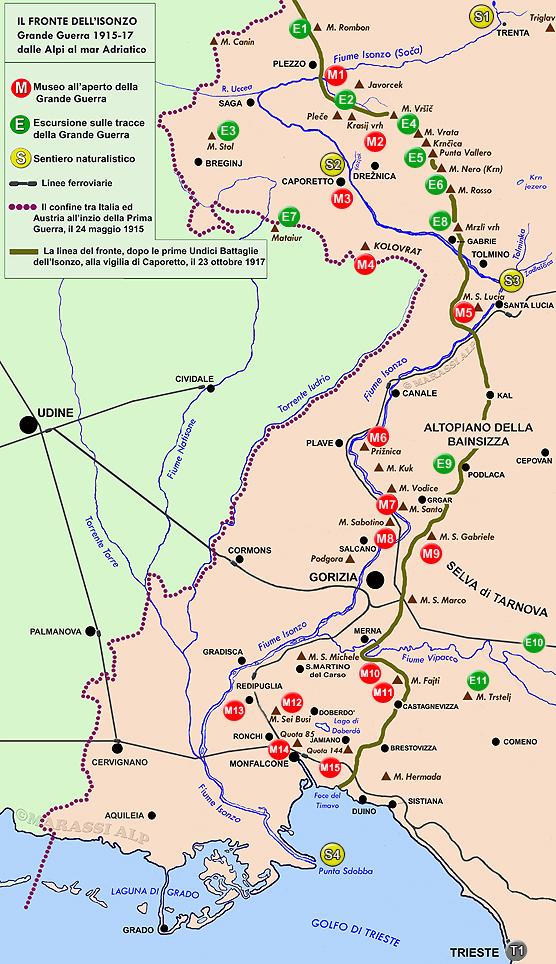 Cartina Grande Guerra sul fiume Isonzo