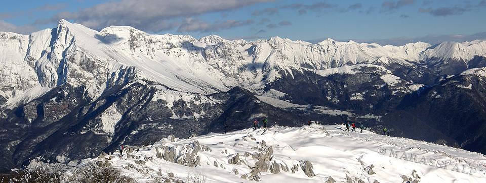 Panorama del Gruppo monte Nero dal Matajur